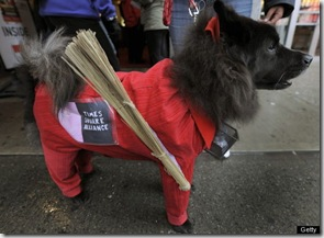 Cookie the Chow as Times Square Alliance Clean Up Crew