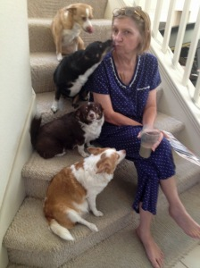 Chancer Chemo Time - Marion & Dogs on Stairs Halloween 2014-2a